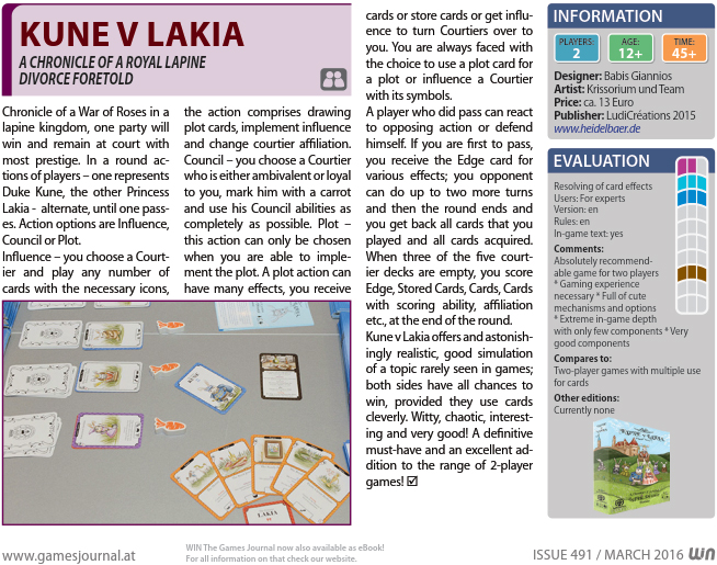 WIN Magazine Review of Kune v Lakia