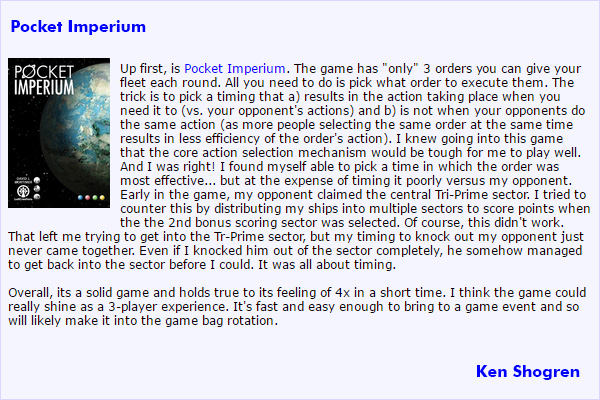 BGG Review of Pocket Imperium